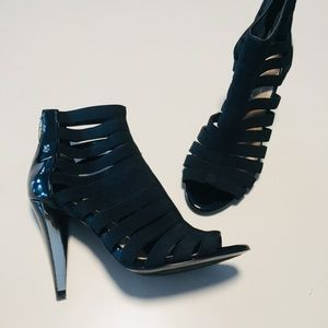 Marc Fisher Caged Gladiator Stiletto Heels Black